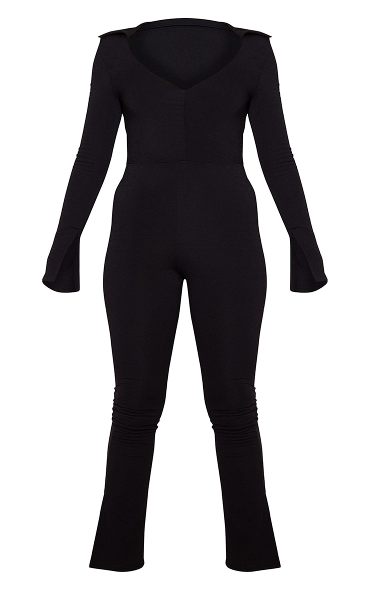 Recycled Petite Black Contour Jersey Ruched Front Jumpsuit 5