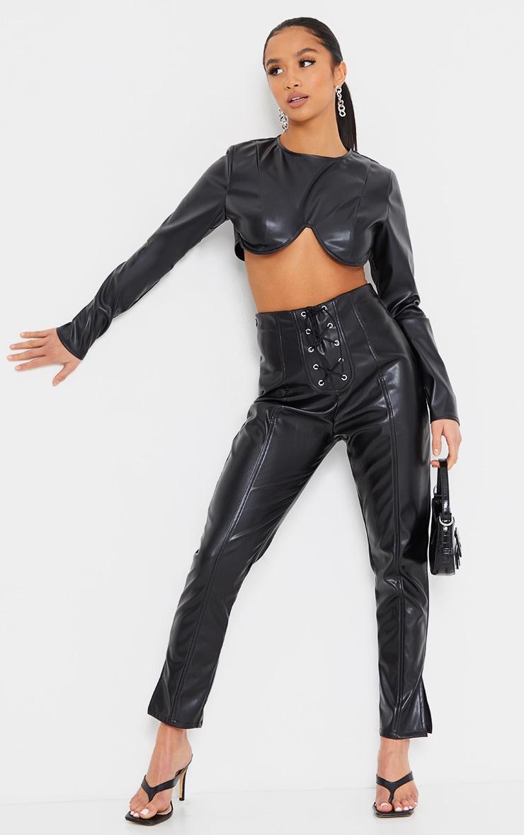 Petite Black Lace Up Detail Split Hem Faux Leather Trouser 1