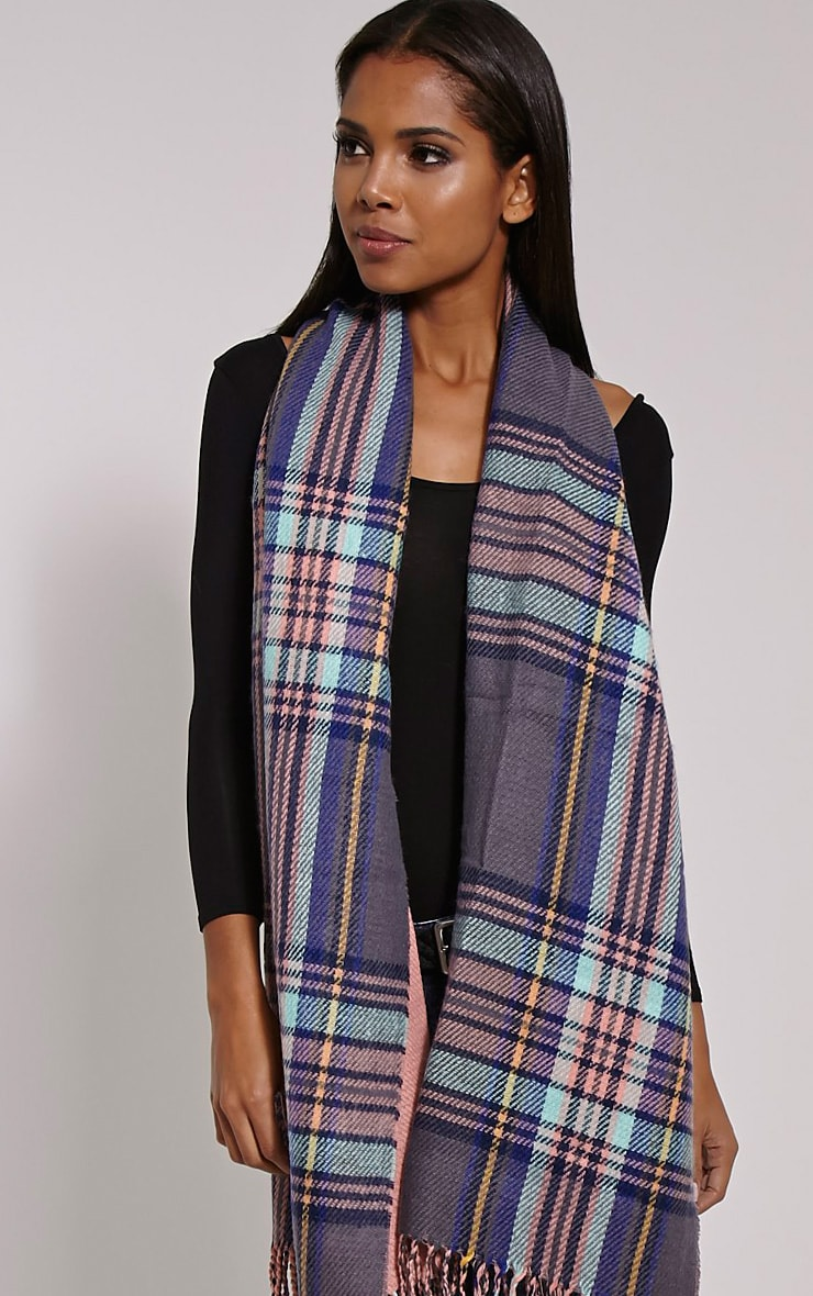 Carah Pink Check Oversized Scarf 1