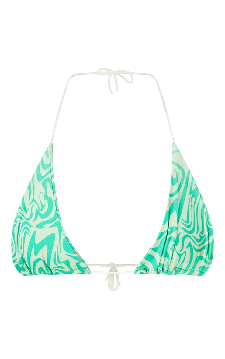 Green Swirl Print Triangle Bikini Top 5