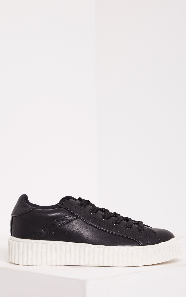 Lorena Black PU Creeper Trainers 1
