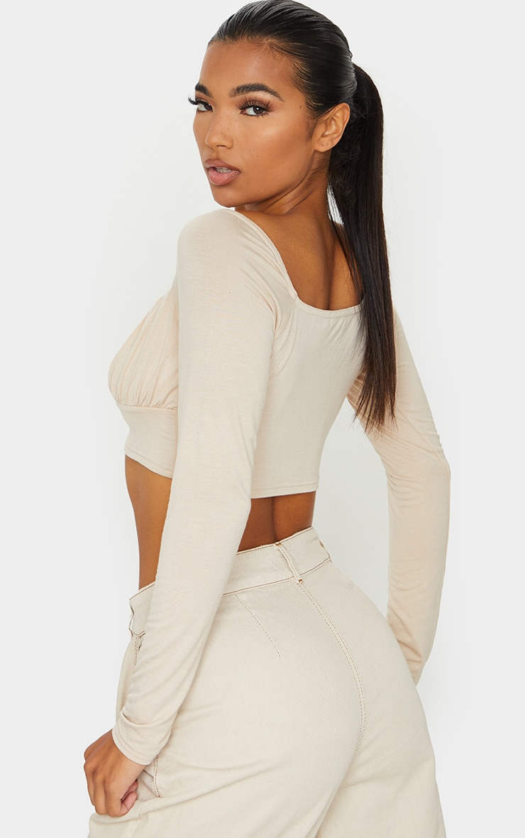 Sand Jersey Long Sleeve Ruched Crop Top 2