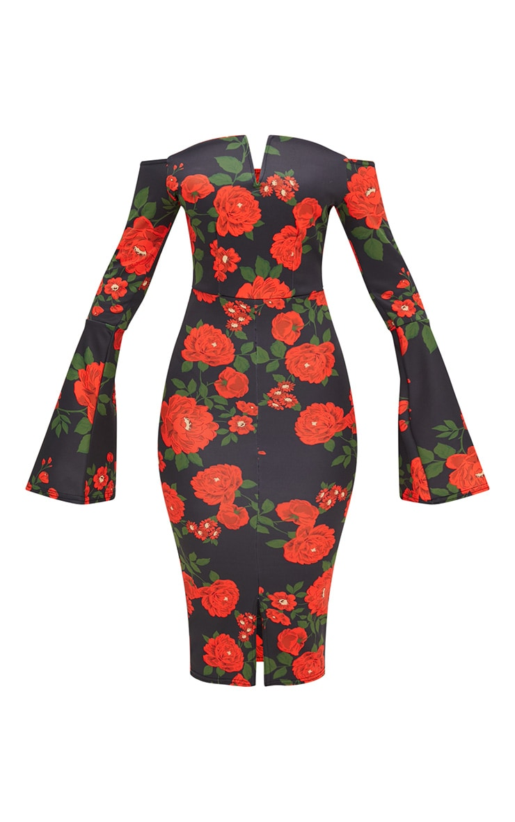 Black Floral Bardot Flared Sleeve Midi Dress 3