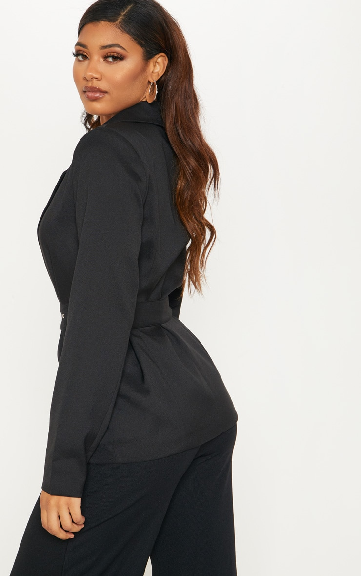 Tall Black Belted Blazer 2