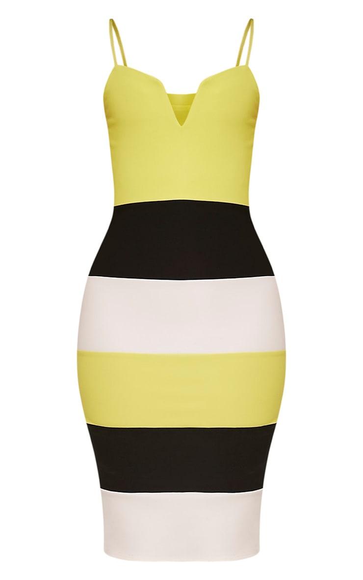 Ebony Lime Green Contrast Colour Block Bandage Dress 3