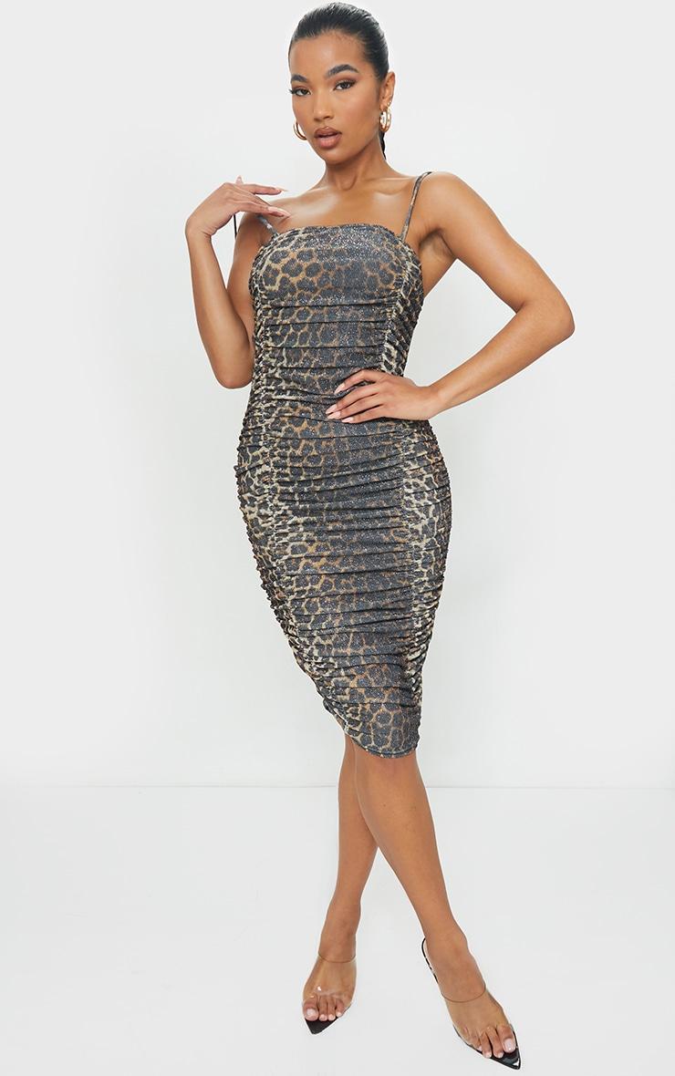 Tan Leopard Print Glitter Strappy Ruched Midi Dress 1