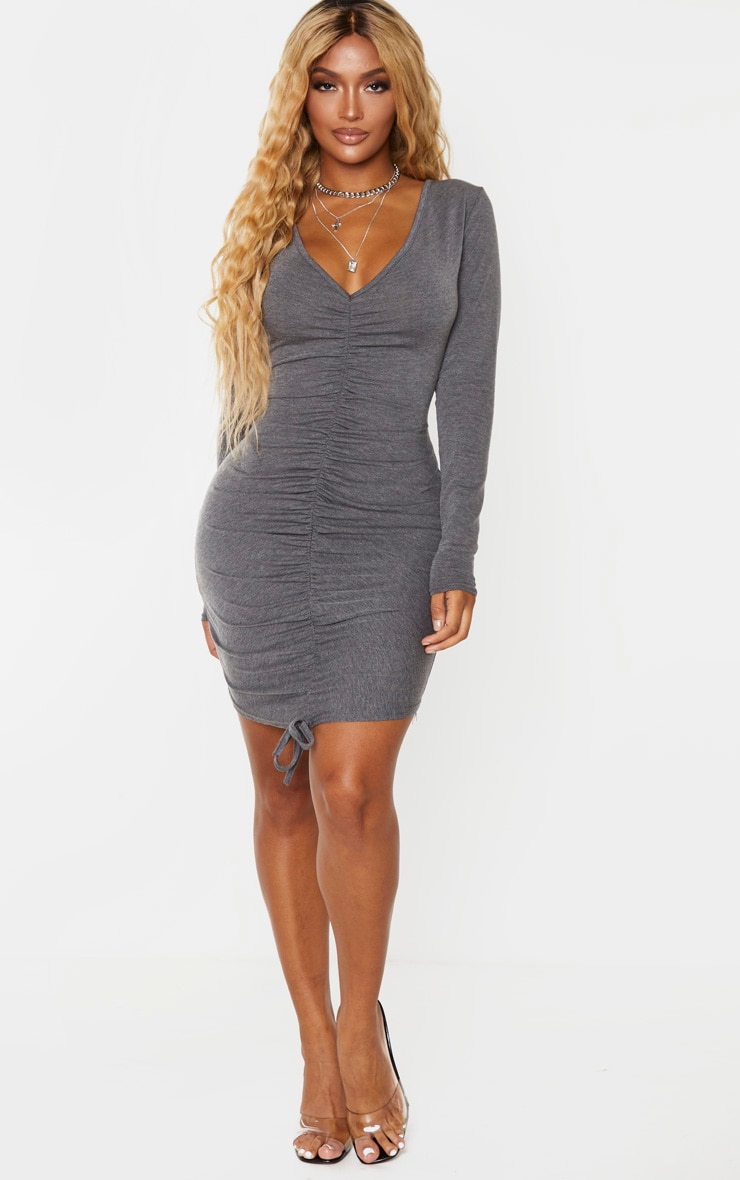 Shape Charcoal Jersey Ruched Front Long Sleeve Dress 3
