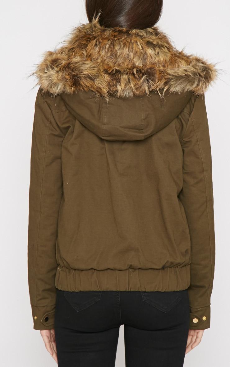 Cecily Khaki Leather Strip Coat 2