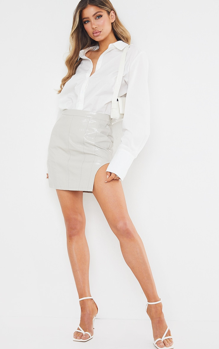 Light Grey Faux Leather Panel Detail Mini Skirt 6