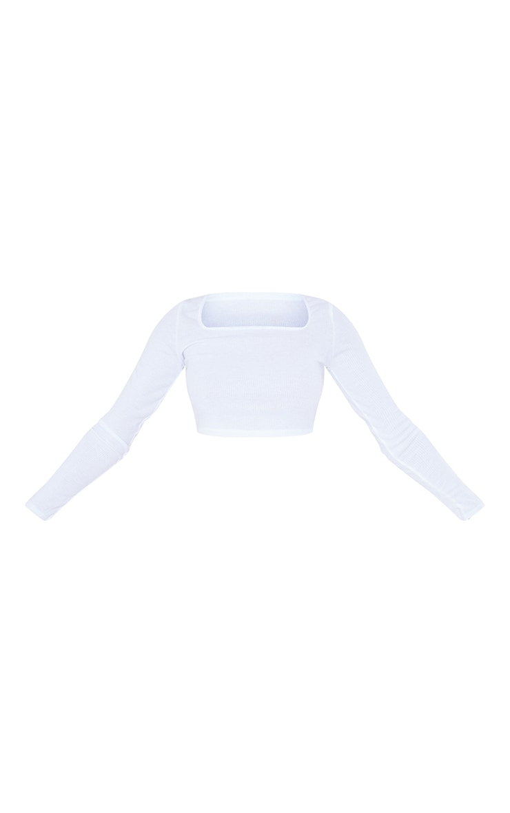 Tall White Square Neck Ribbed Long Sleeve Crop Top 5