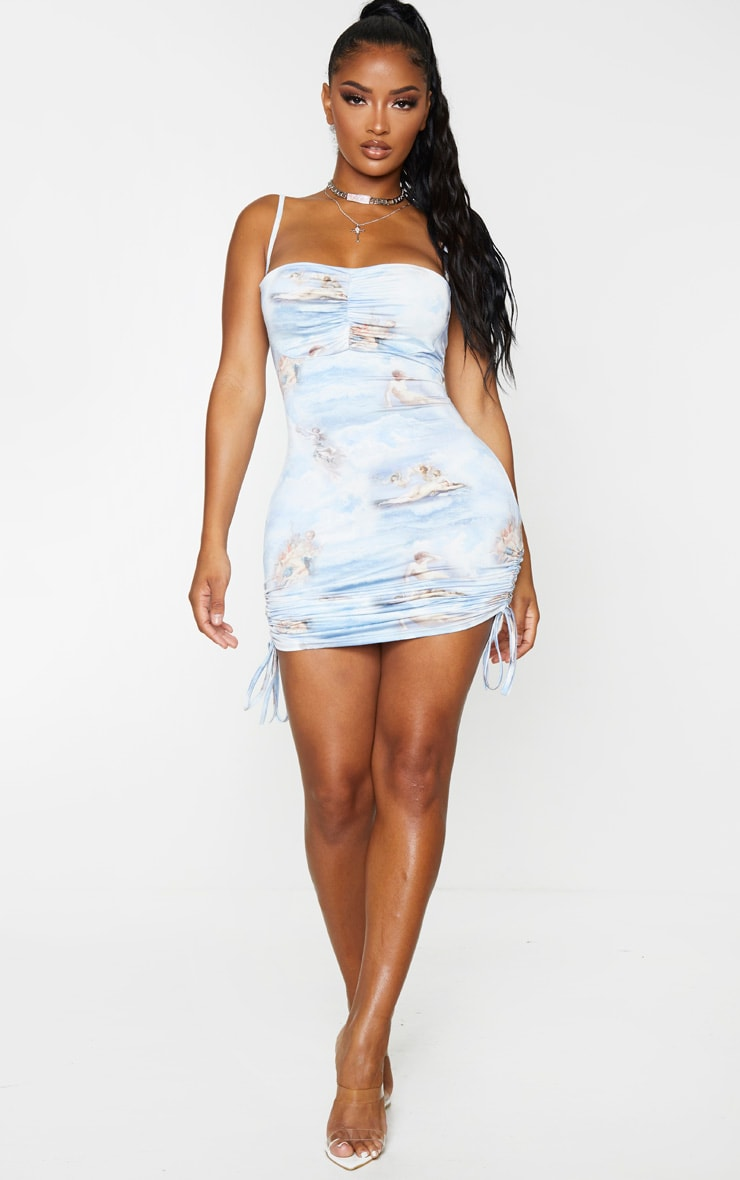 Shape Blue Renaissance Print Slinky Ruched Side Bodycon Dress 4