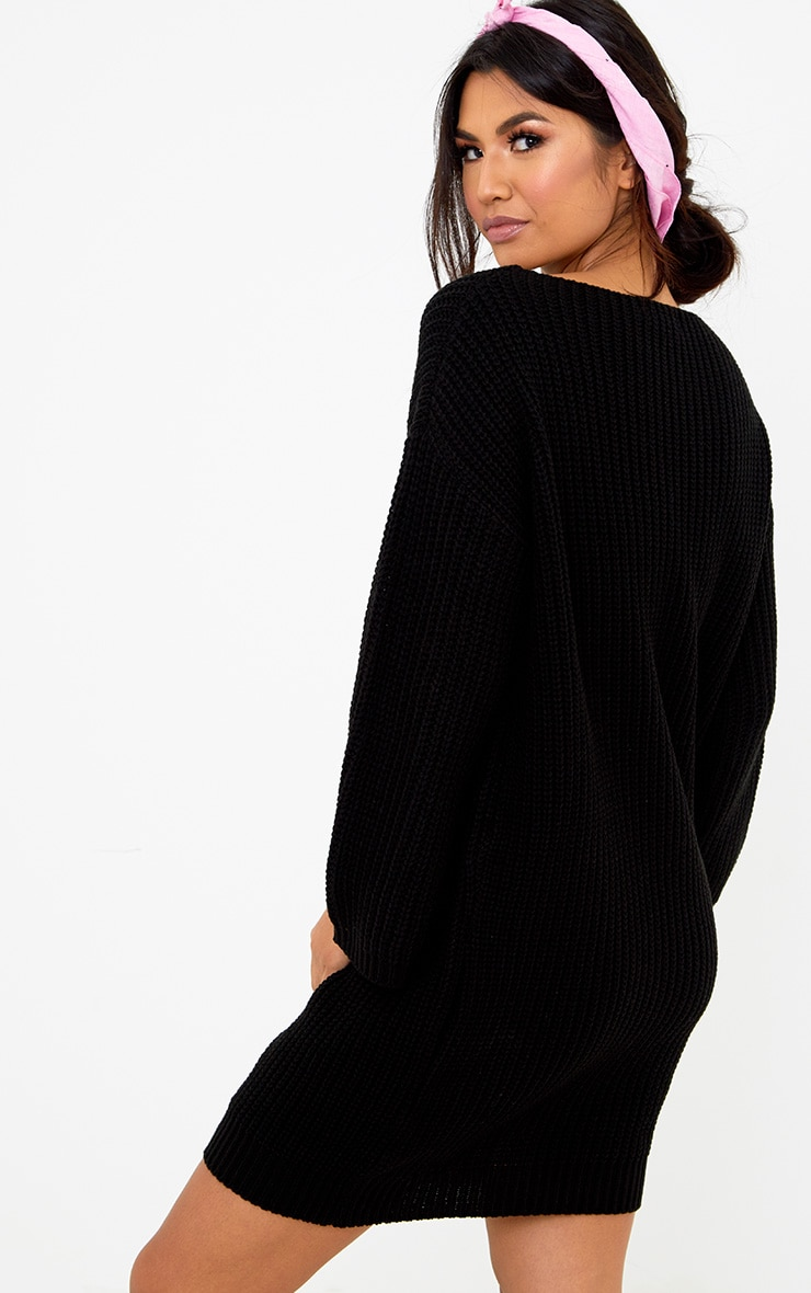 Black Chunky Knit Flute Sleeve Jumper 2