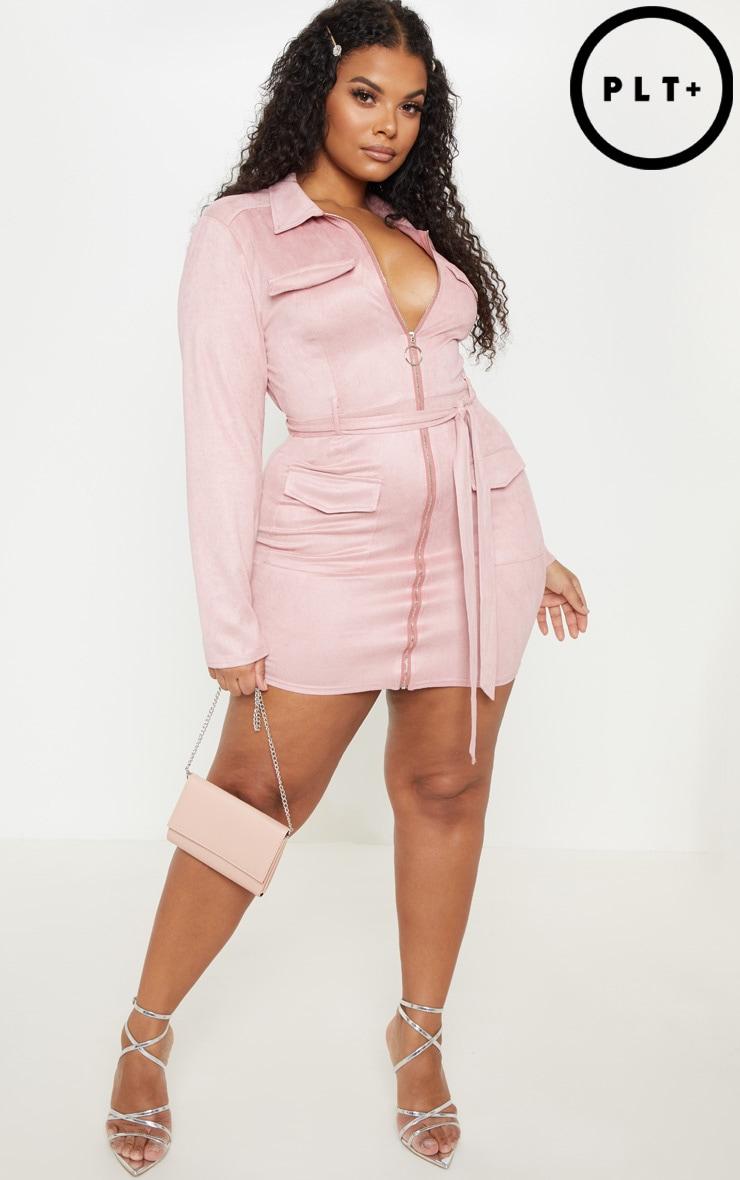 PLT Plus - Robe moulante rose cendré en suédine à poches  1