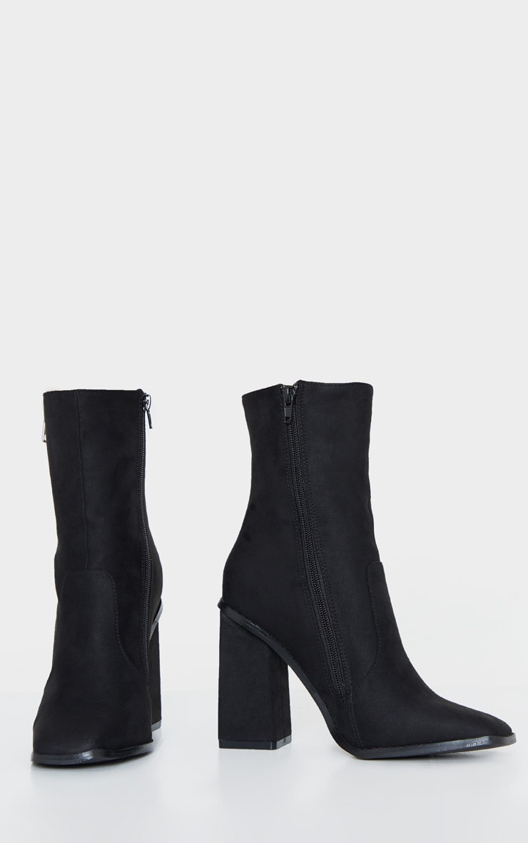 Black Square Toe Chunky Block Heel Ankle Boot 5