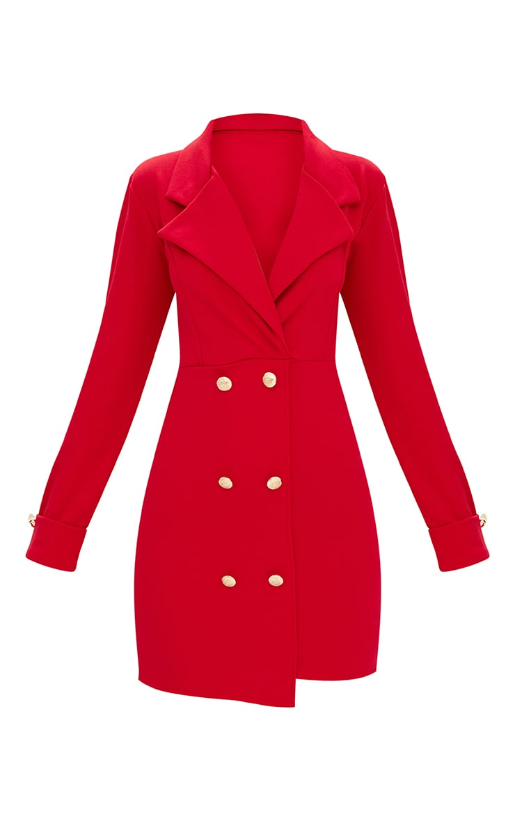 Red Gold Button Detail Blazer Dress 3