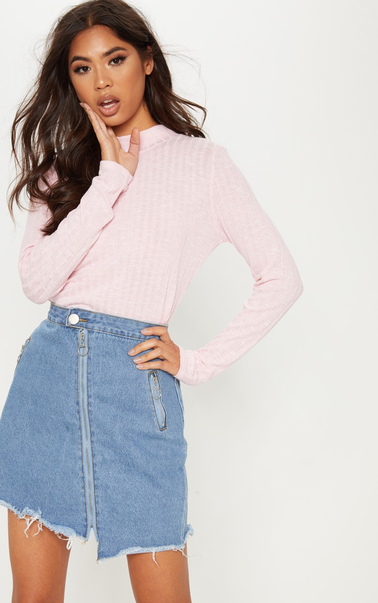 Baby Pink Long Sleeve High Neck Top