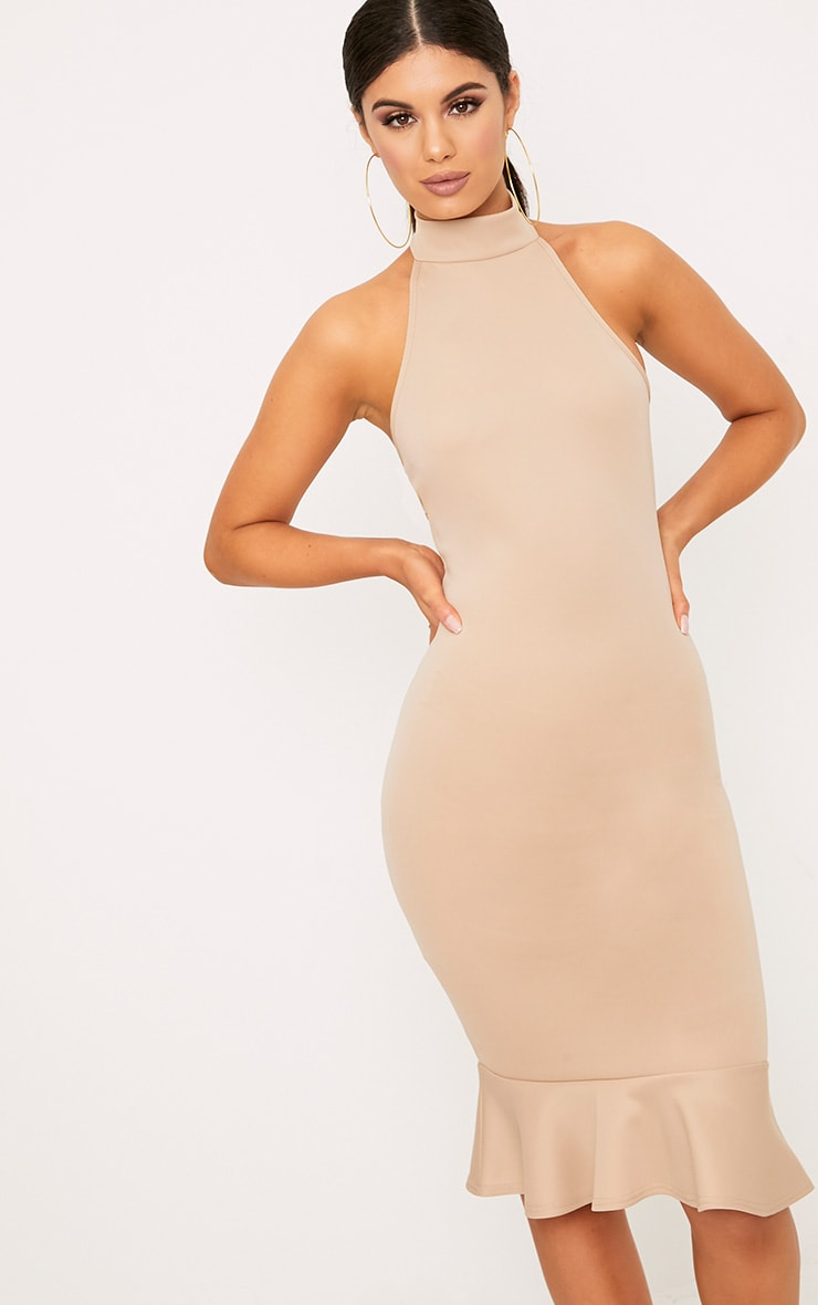 Nude High Neck Frill Hem Midi Dress 1
