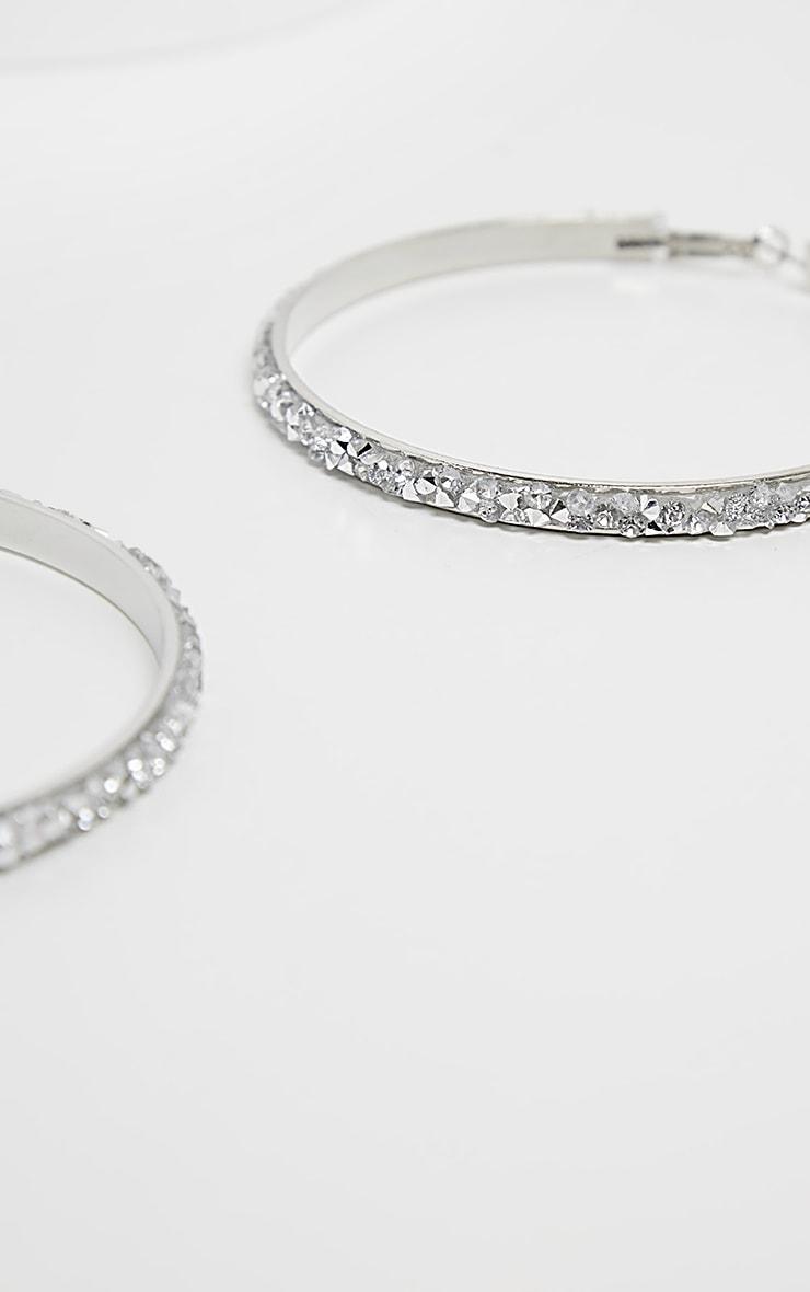 Silver Crystal Cluster Large Hoop Earrings 3