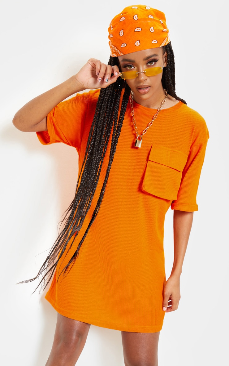 Bright Orange Waffle Pocket Front T Shirt Dress 1