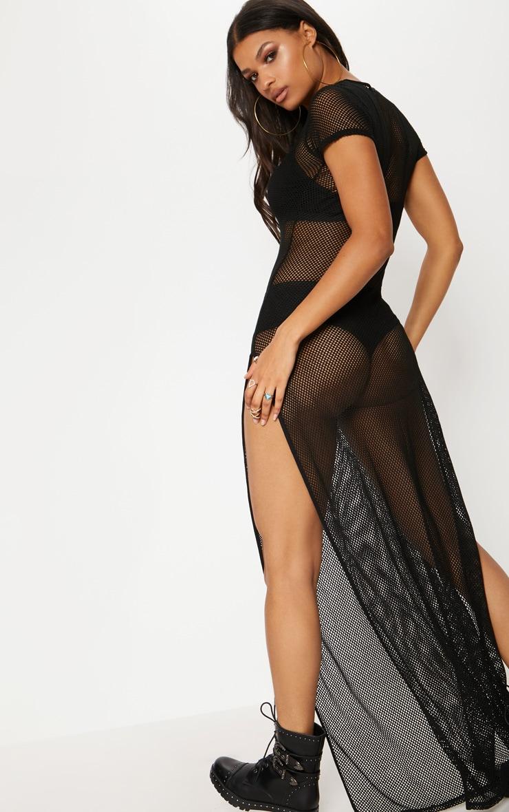 Black Fishnet Extreme Split Maxi Dress 2