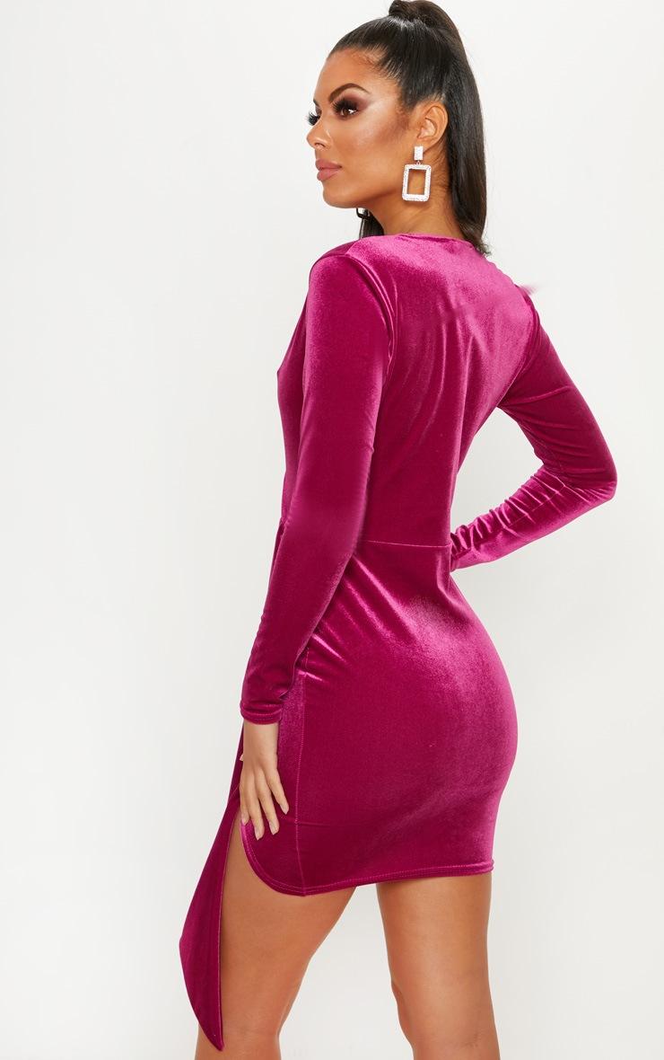 Hot Pink Velvet Drape Detail Bodycon Dress 2