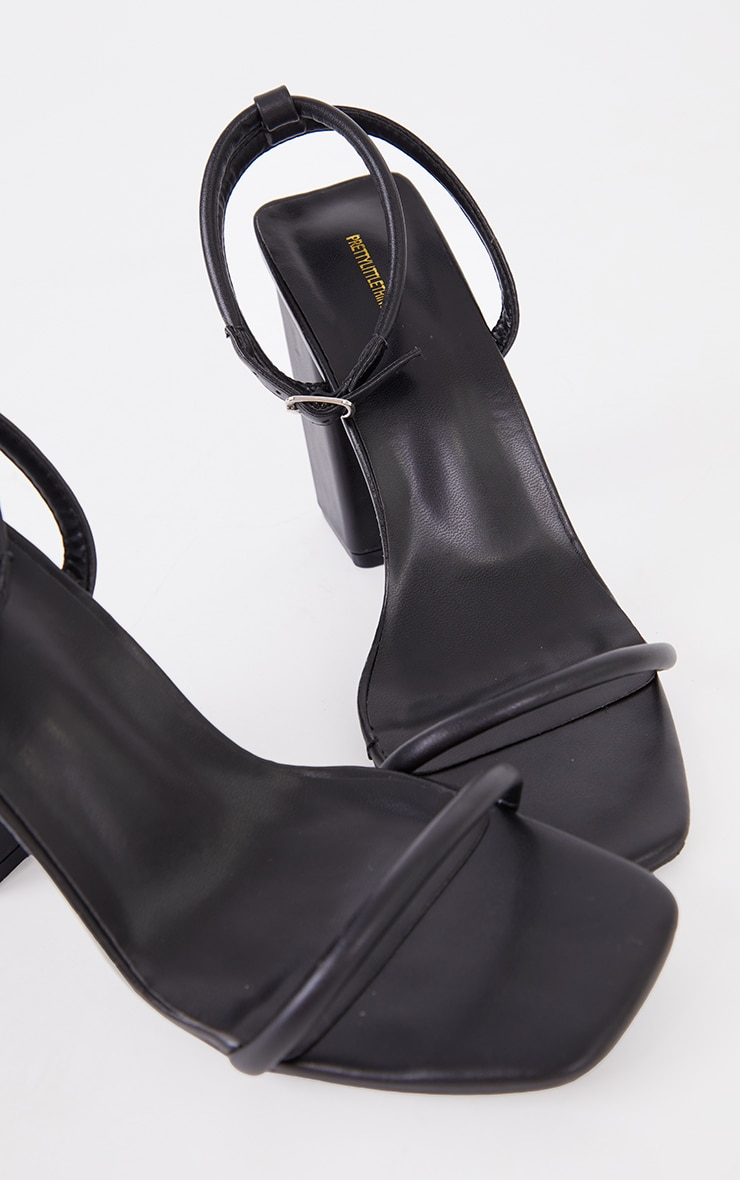 Black Barely There Block Heeled Sandals 3