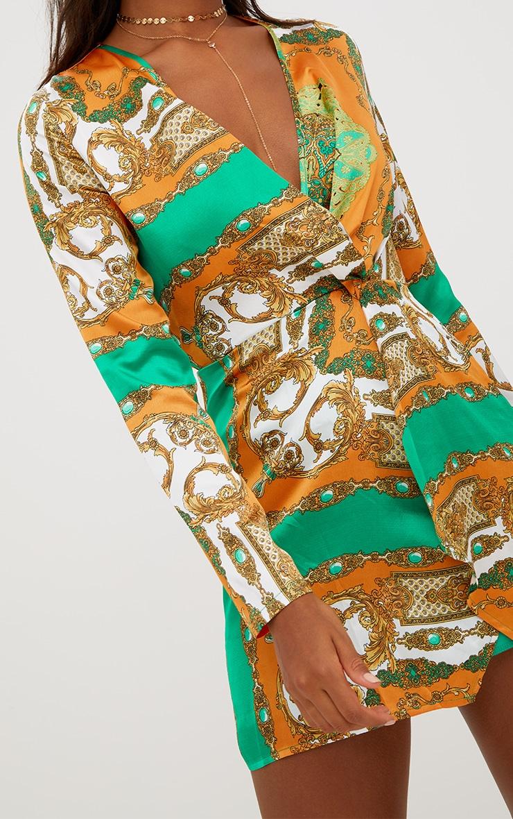 Orange Silky Long Sleeve Wrap Dress 4