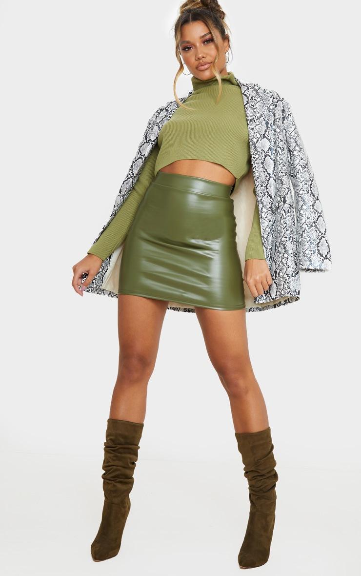 Khaki Basic Faux Leather Mini Skirt 5