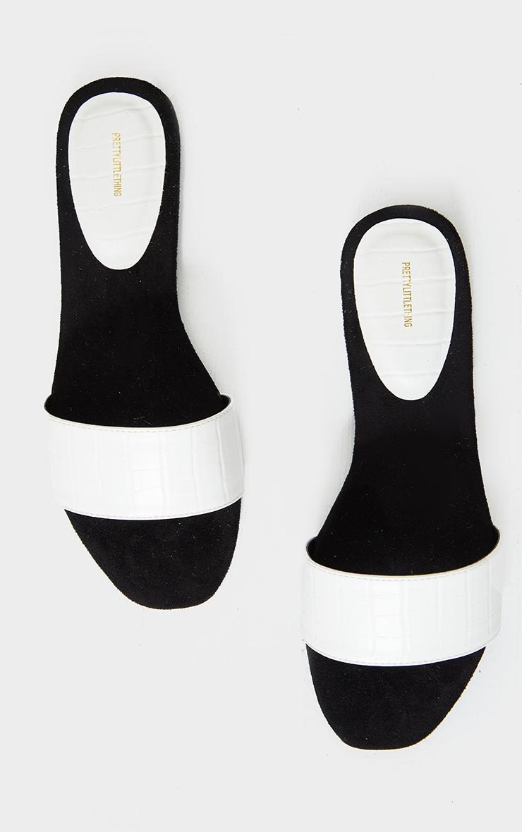 White Single Strap Mule Sandal 4
