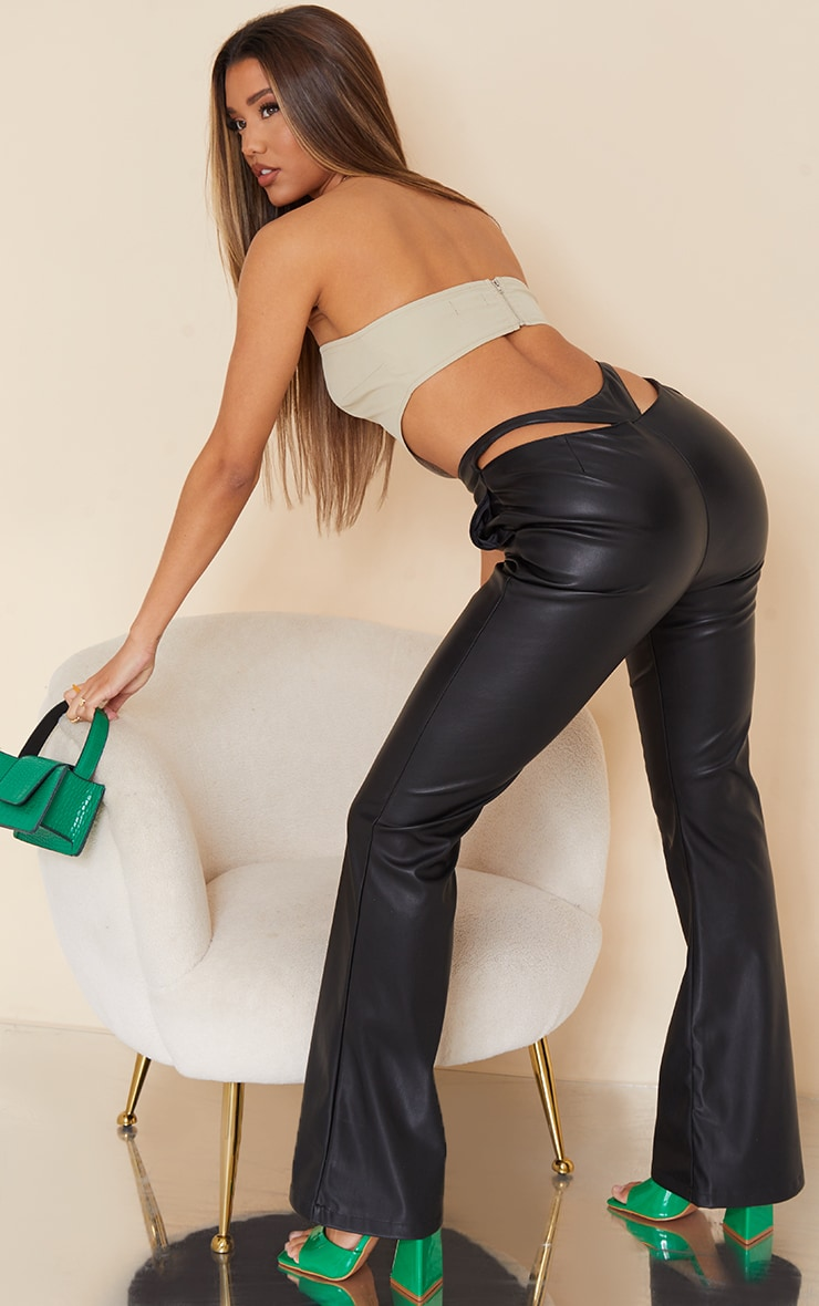 Black Faux Leather Thong Back Flare Pants 1