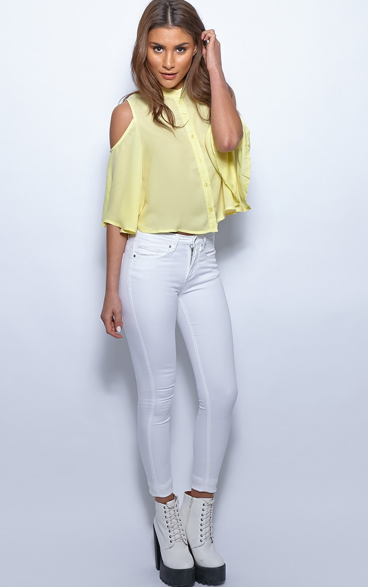 Laurie Yellow Chiffon Cut Out Cropped Shirt 4