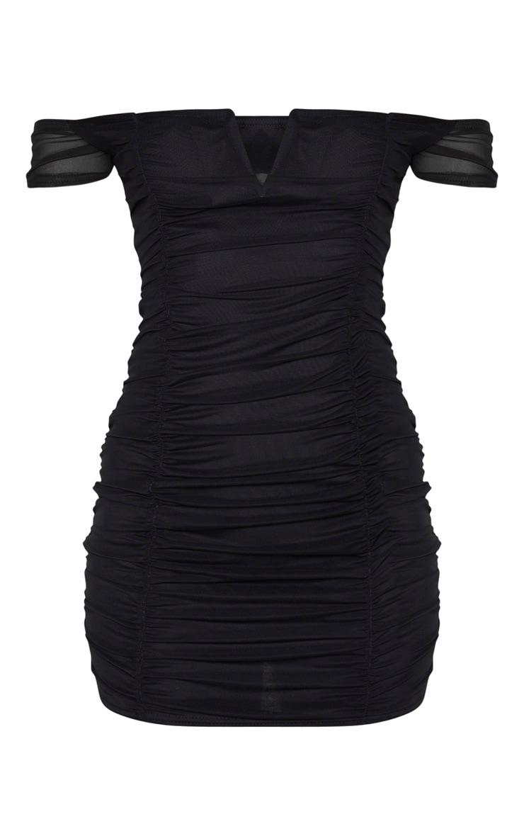Black Mesh Ruched Bardot V Bar Detail Bodycon Dress 3