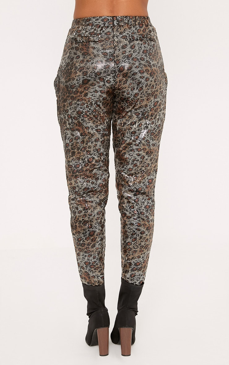 Richelle Gold Leopard Sequin Slouch Trousers 4