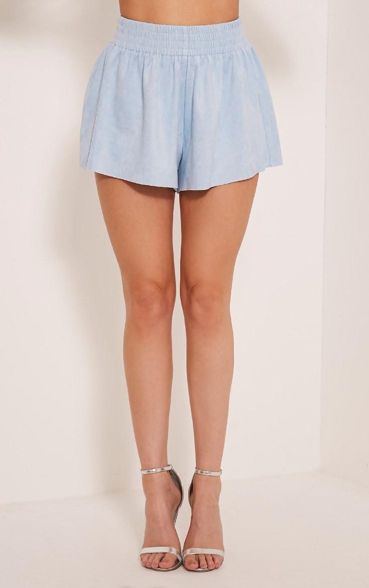 Lettie Baby Blue Faux Suede Elastic Waist Shorts 2