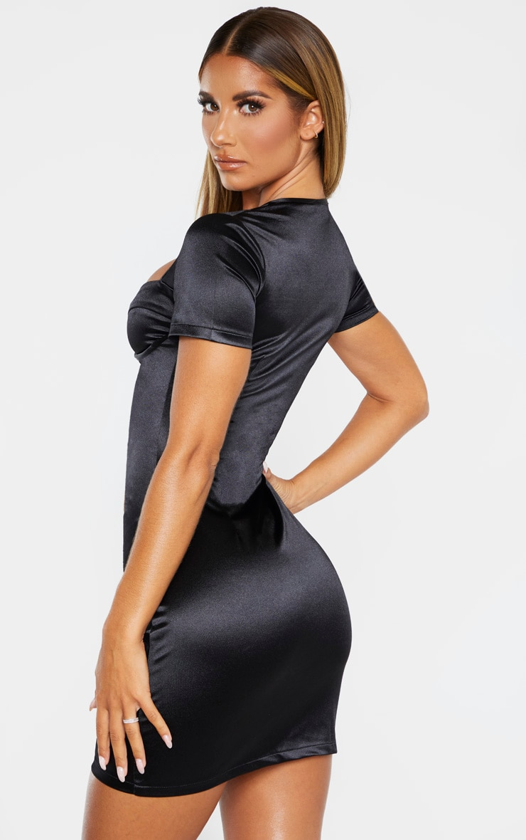 Black Satin Cup Detail Ruched Front Bodycon Dress 2