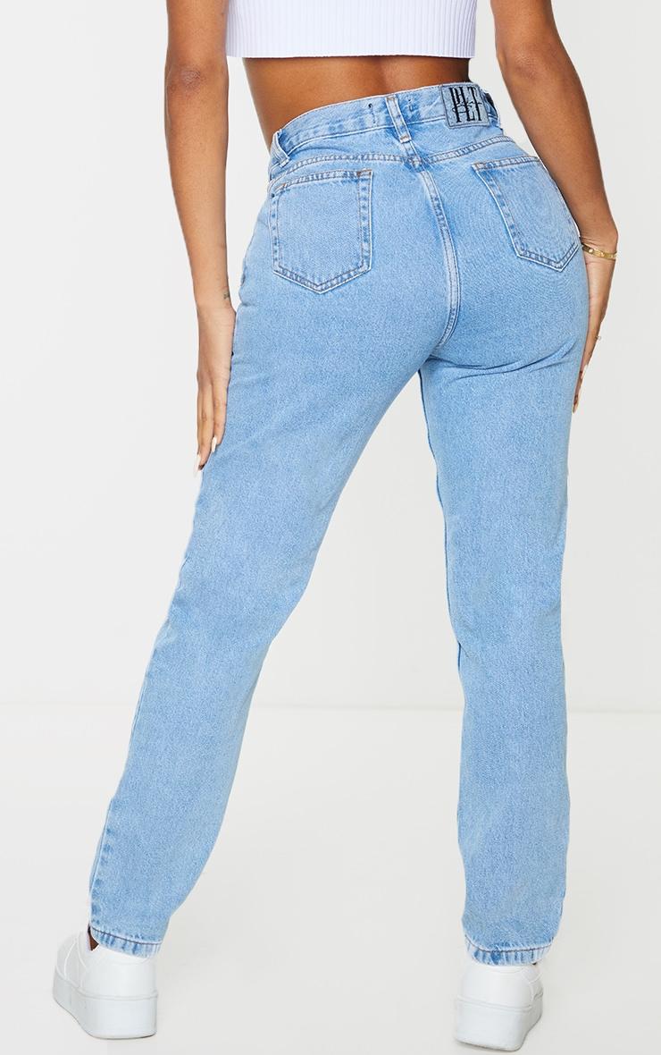 PRETTYLITTLETHING Shape Vintage V Front Waistband Straight Leg Jeans 3
