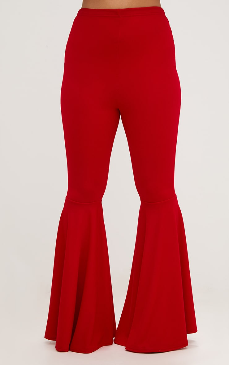 Plus Red Fit and Flare Leg Trousers 2