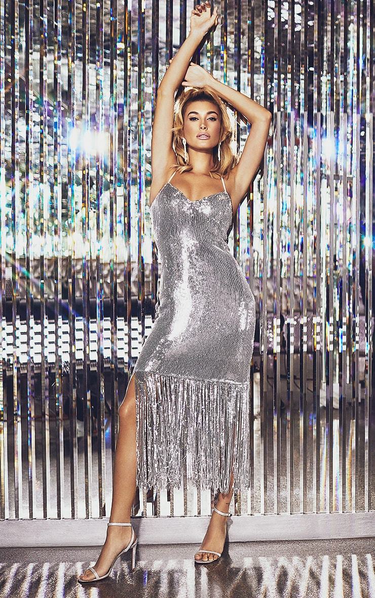 Silver Sequin Tassel Hem Midi Dress 2