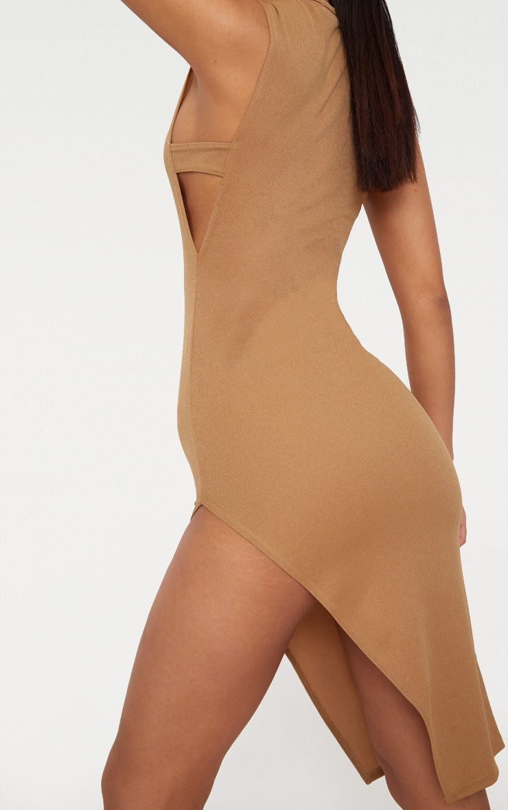 Camel Side Strap Detail Extreme Split Midi Dress  5