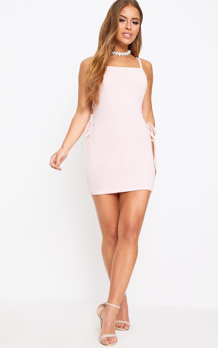 Petite Pink Lace Up Side Mini Dress 4