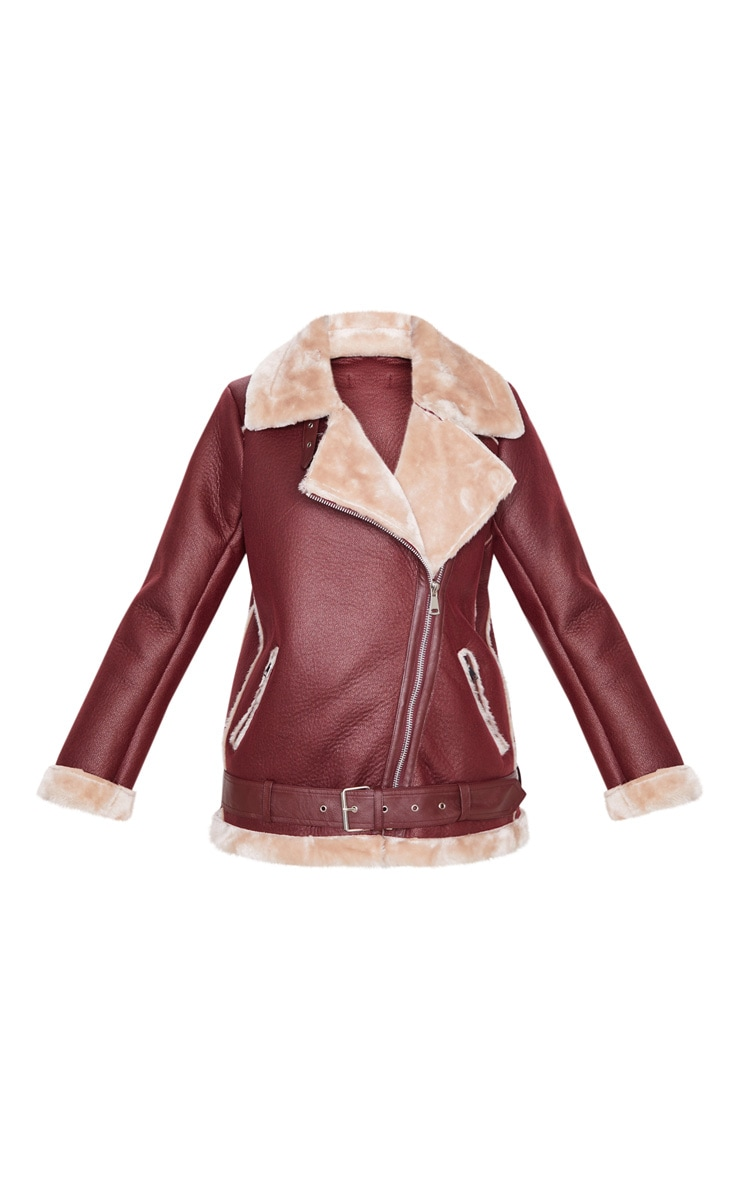 Burgundy PU Oversized Aviator Jacket 3