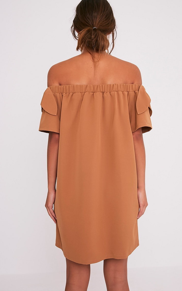 Cayla Camel Crepe Bardot Swing Dress 3
