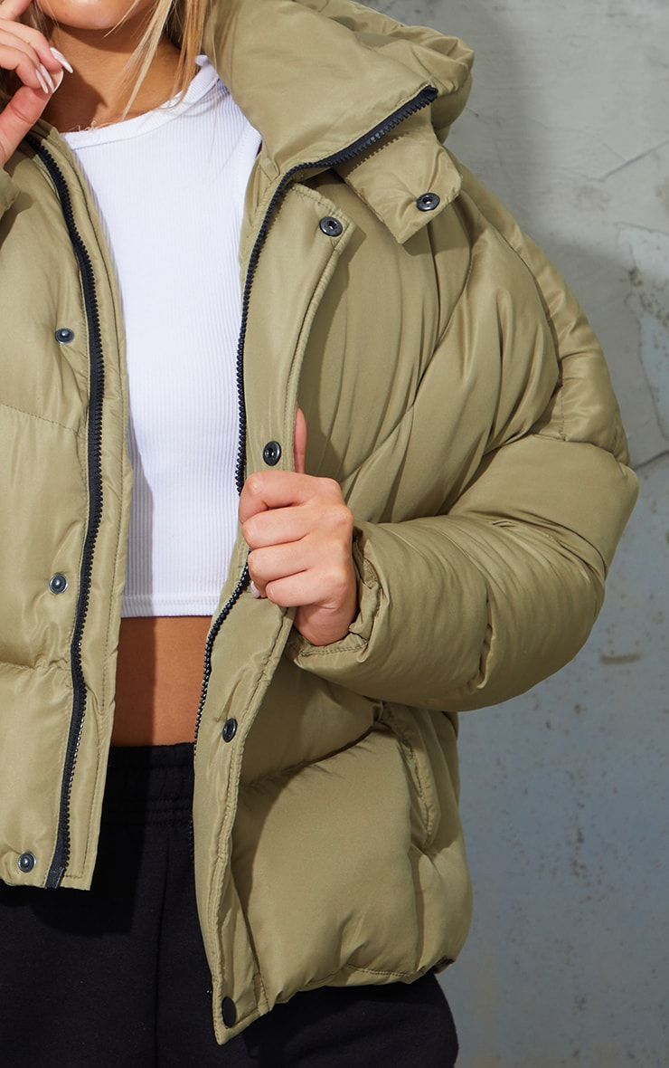 Khaki Nylon Oversized Curved Panel Wadded Puffer Jacket 4