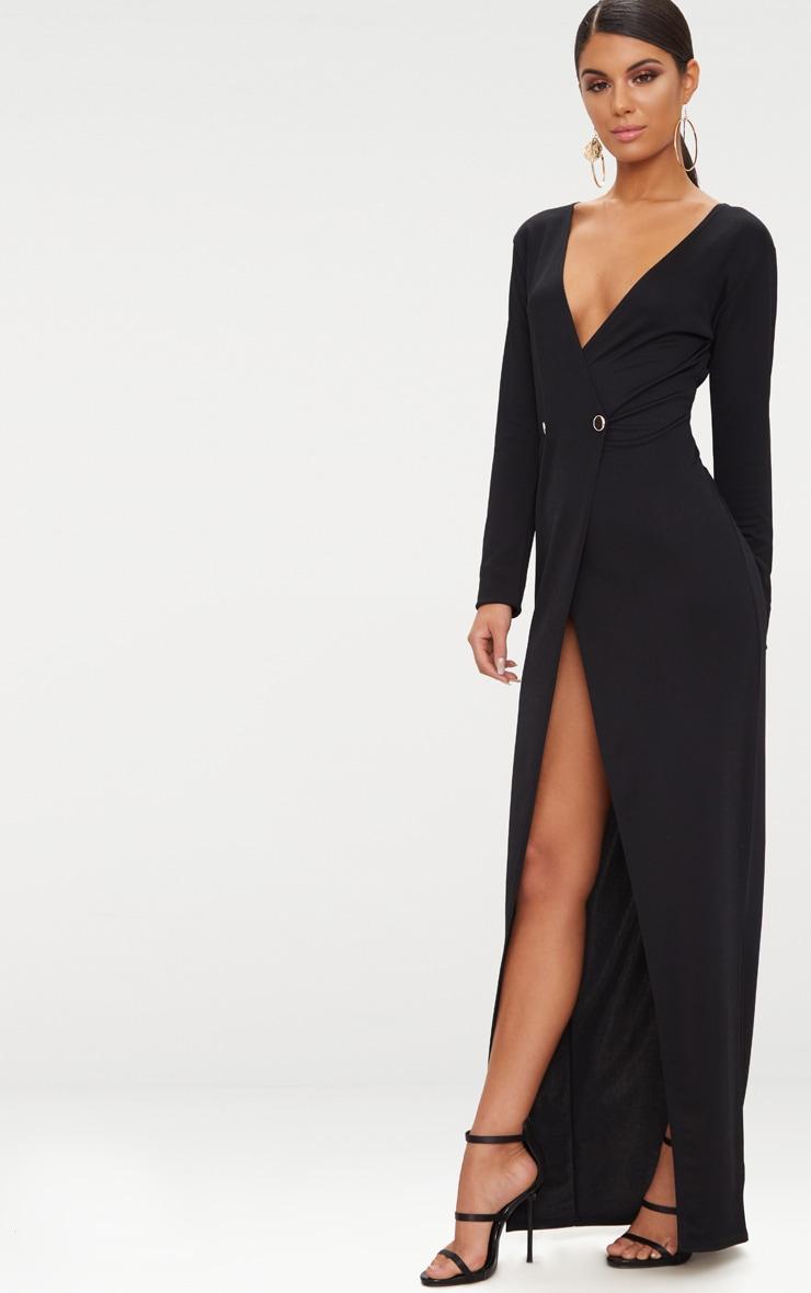 Black Button Detail Blazer Maxi Dress 4