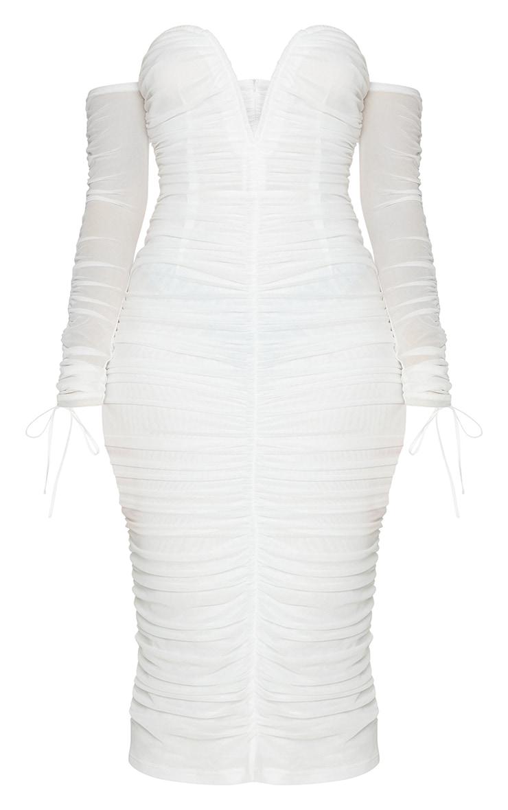 White Mesh V Bar Ruched Detail Bardot Midi Dress 5
