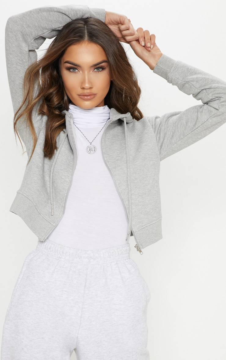 Grey Crop Zip Hoodie