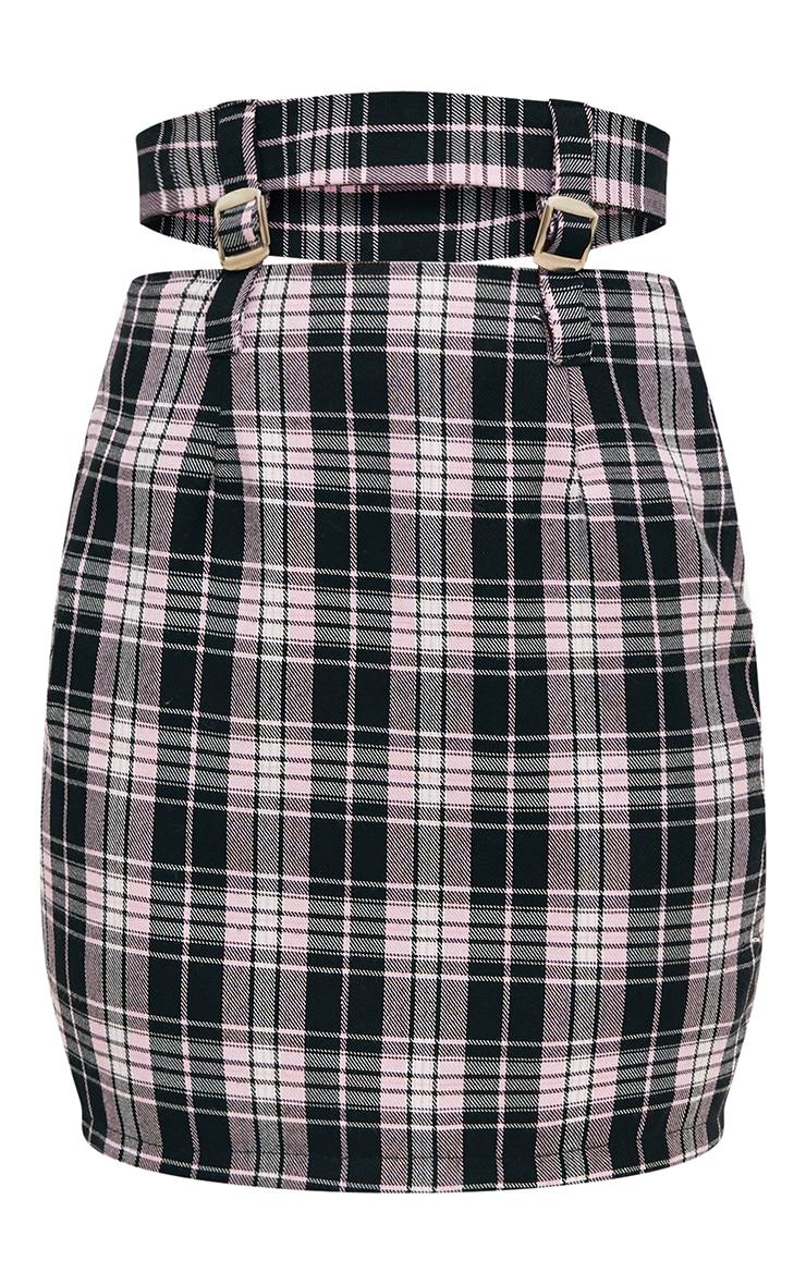 Pink Check Buckle Waist Mini Skirt 3