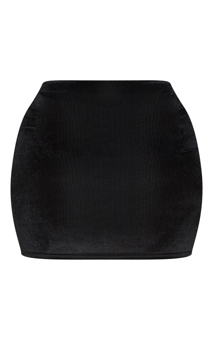 Plus Black Velvet Stripe Mini Skirt 3