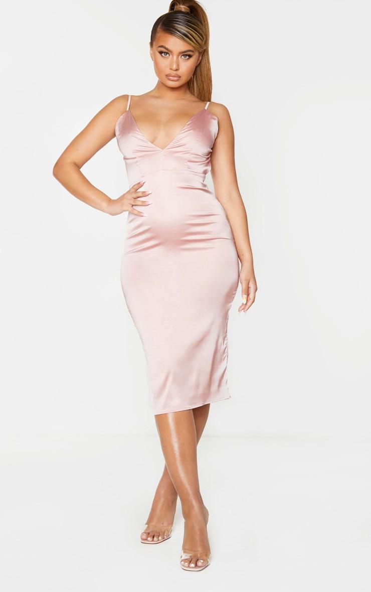Plus Dusty Pink Slinky Ruched Organza Sleeve Bodysuit 2