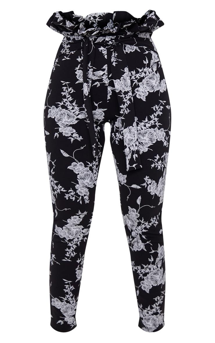 Black Floral Paperbag Skinny Pants  3